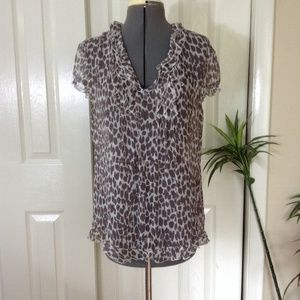 Tahari Sheer Silk Animal Print Overtop